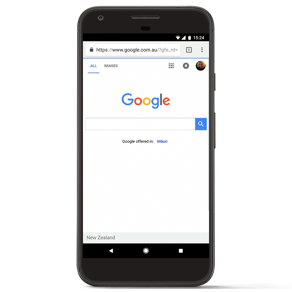 SEO in Victoria Phone displaying google with a transparent background