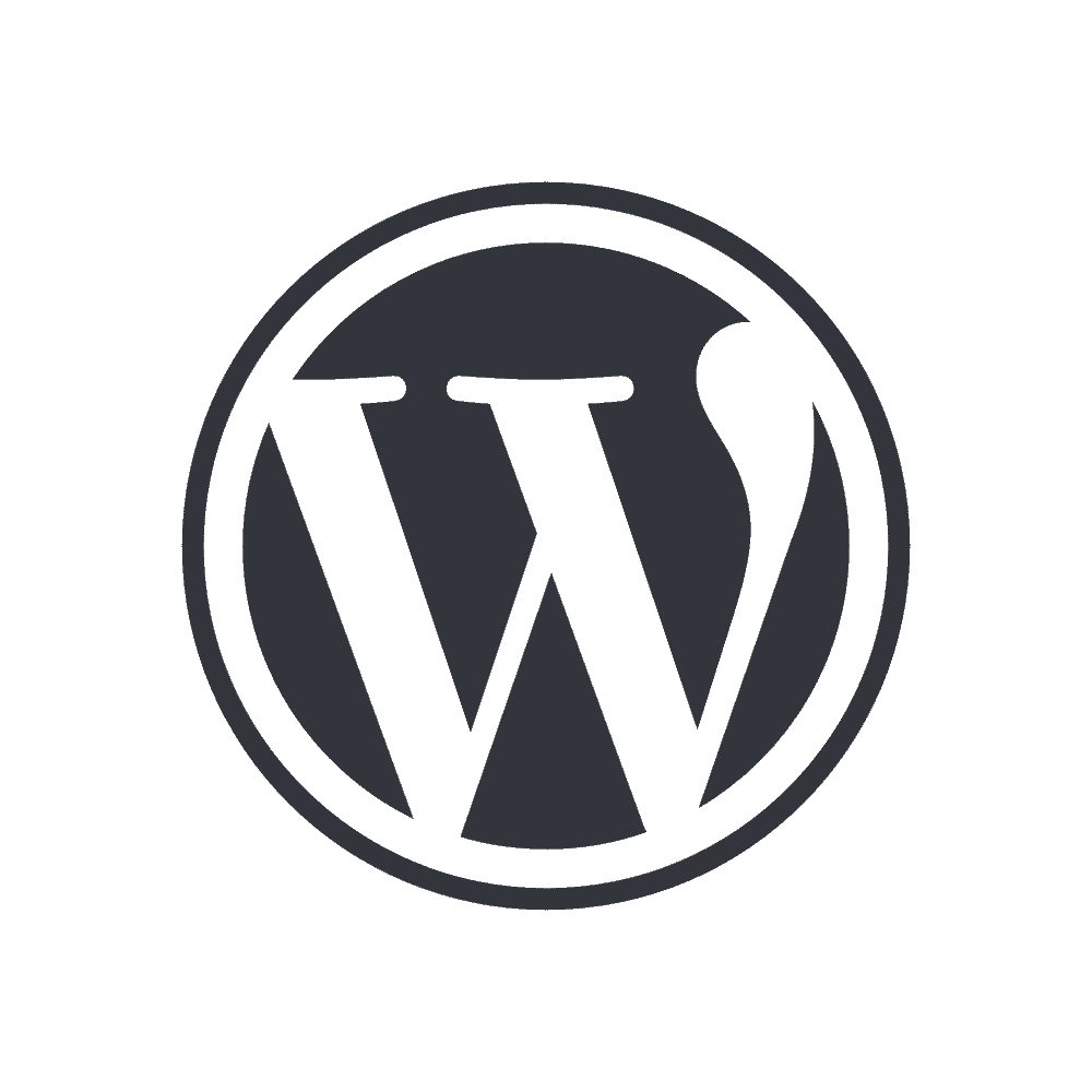 Black WordPress logo with a transparent background