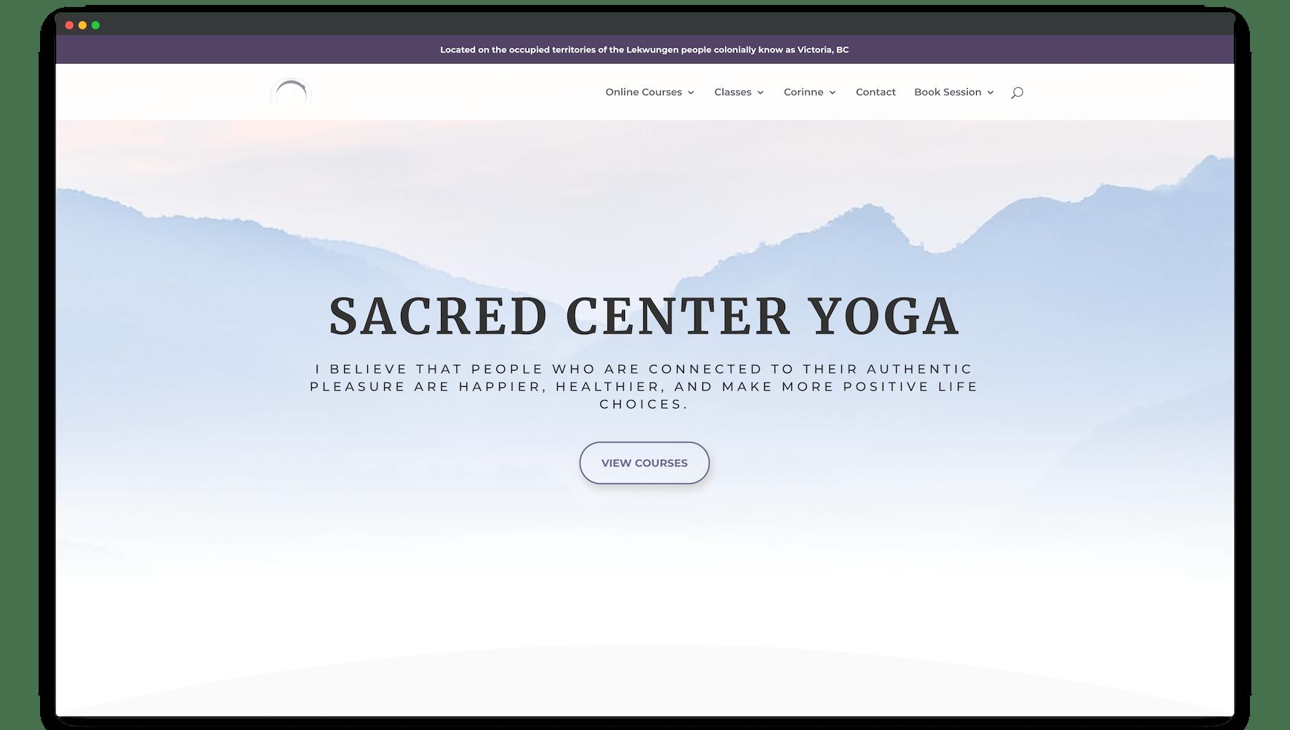 Sacred Center Yoga Website Screenshot