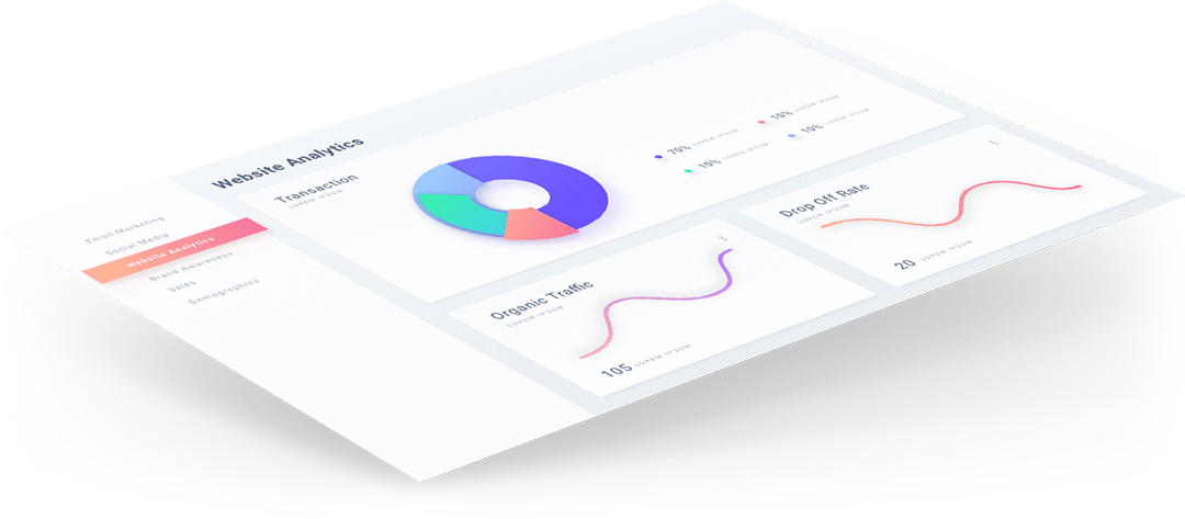 Angled picture of a website screenshot with analytics and graphs