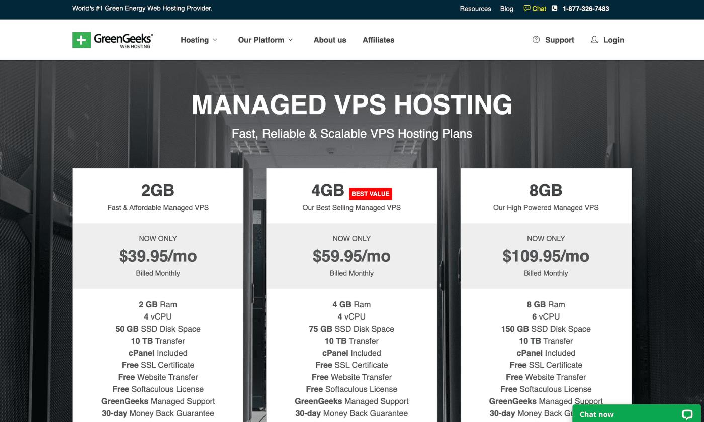 Green Geeks VPS Hosting website screenshot