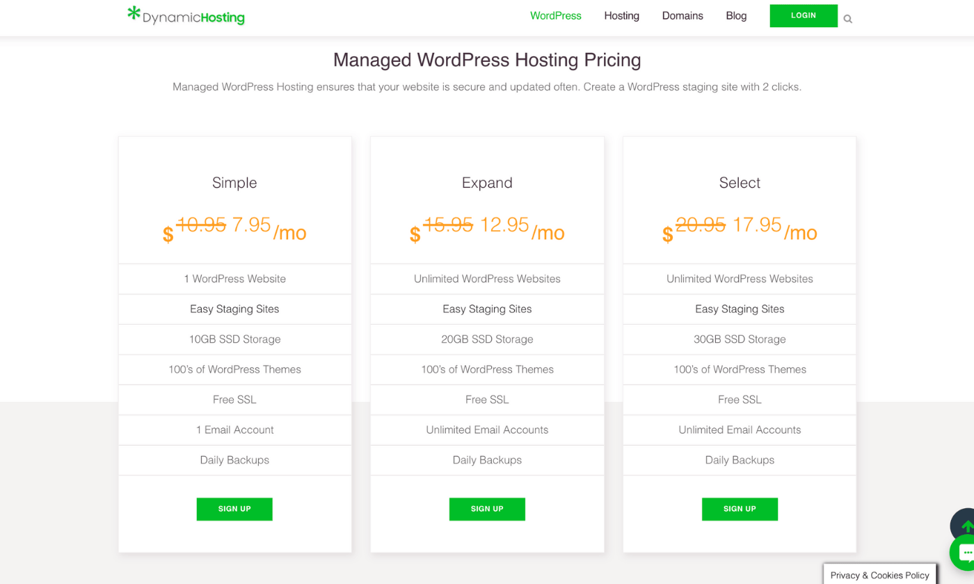Dynamic Hosting WordPress Plans and pricing
