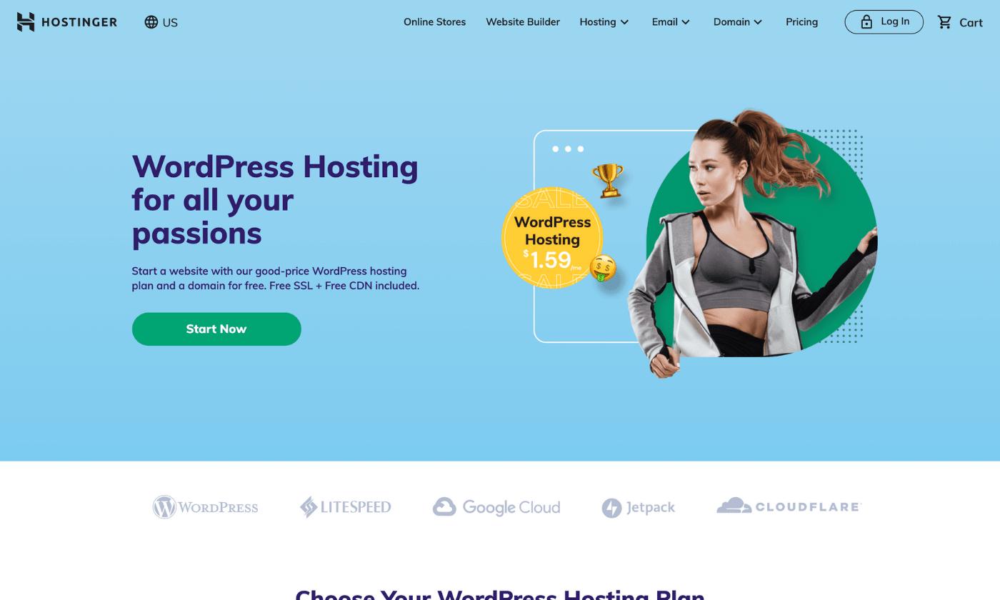 Hosting WordPress plans website screenshot