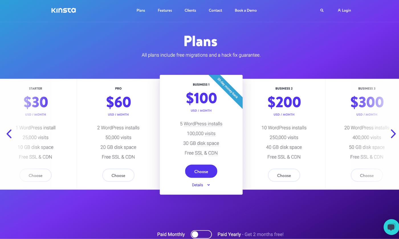 Kinsta WordPress hosting plans and pricing screenshot