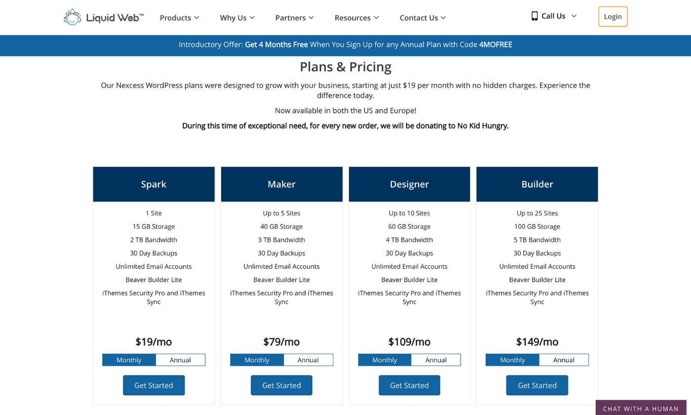 Liquid Web WordPress hosting plans and pricing screenshot