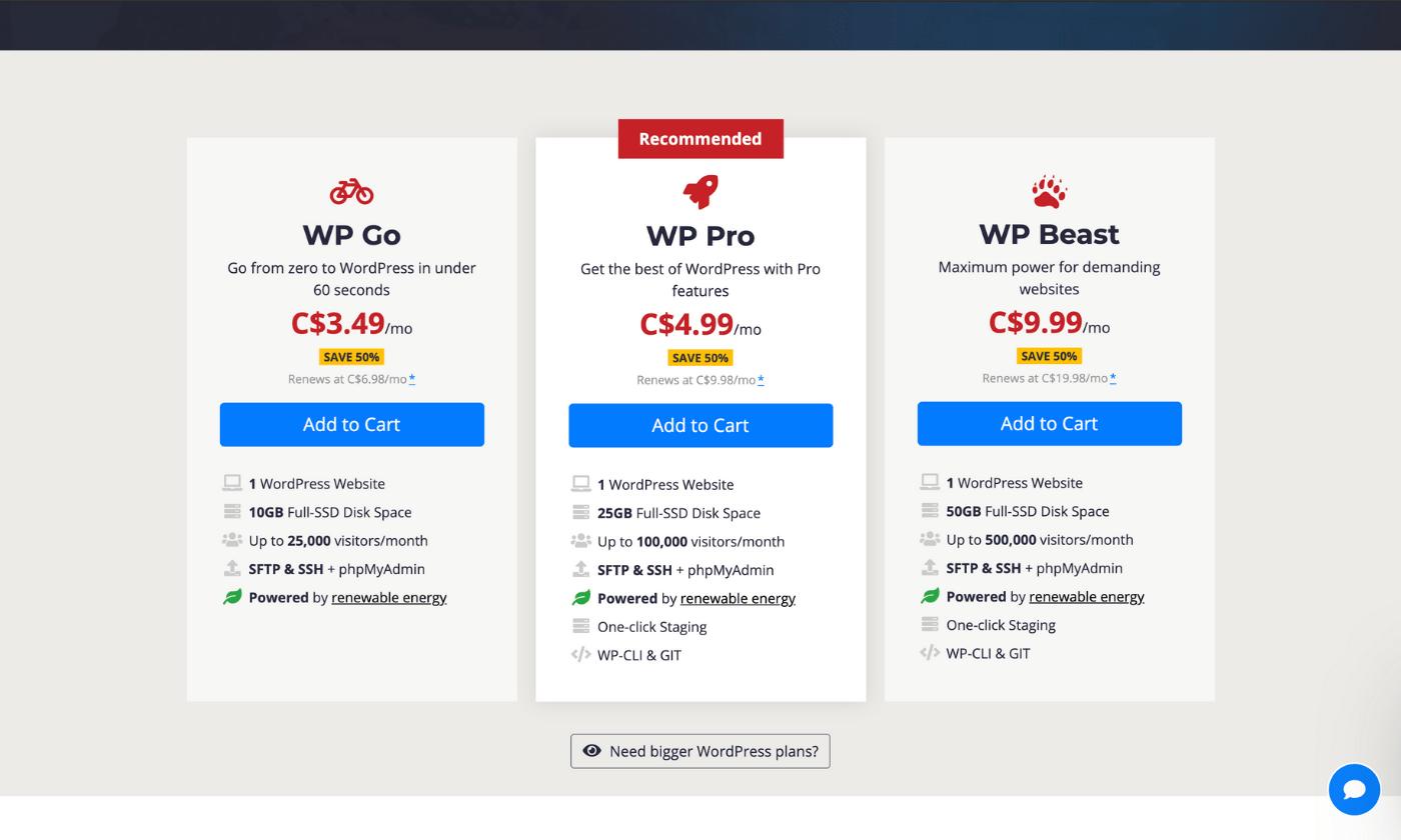 Web Hosting Canada WordPress hosting plans and pricing screenshot