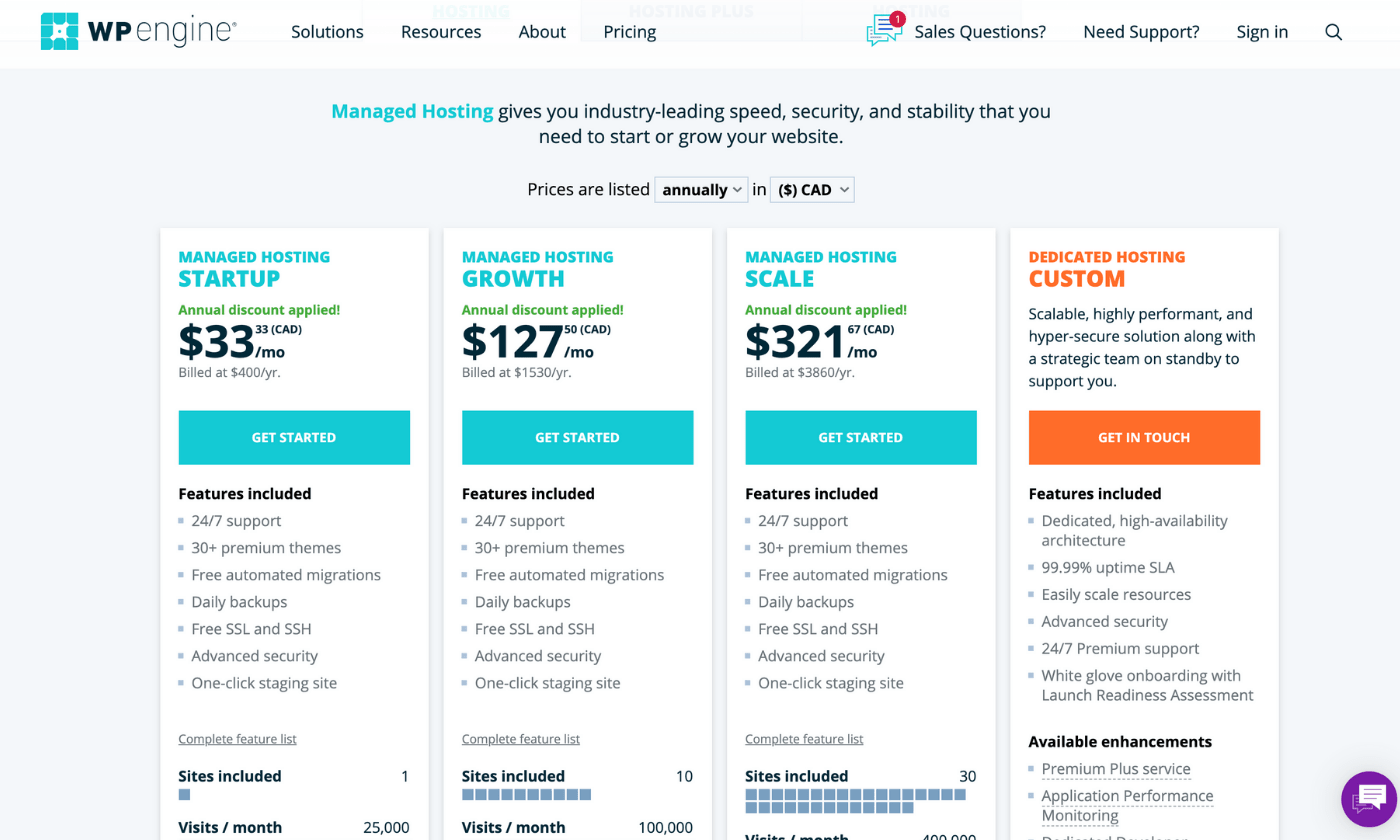 WP Engine WordPress hosting plans and pricing screenshot